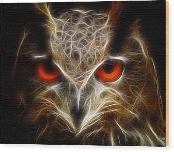 Wood Print featuring the digital art Owl - Fractal Artwork by Lilia D