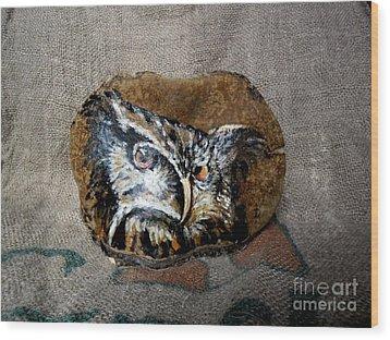 Owl Wood Print by Ildiko Decsei