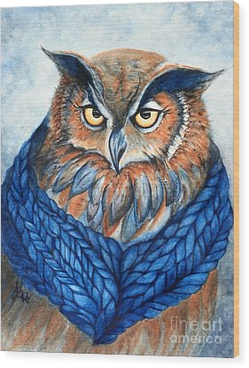 Owl In A Cowl Wood Print by Janine Riley