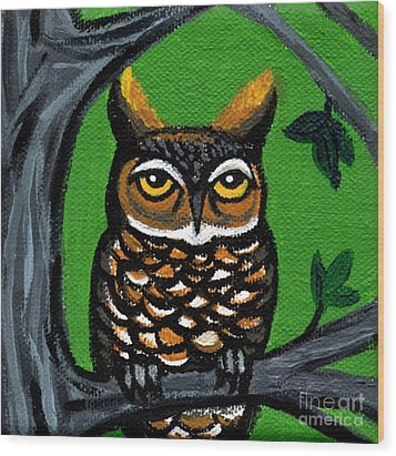 Owl In Tree With Green Background Wood Print by Genevieve Esson