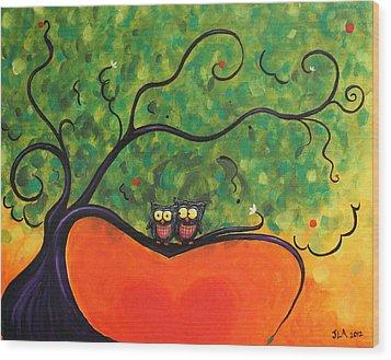 Owl Love You Wood Print by Jennifer Alvarez
