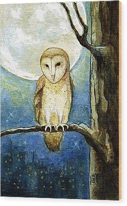 Owl Moon Wood Print