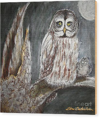 Owl Mother Wood Print by Elena  Constantinescu