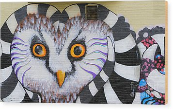 Wood Print featuring the photograph Owl Mural by Ricky L Jones