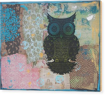 Owl Of Style Wood Print by Kyle Wood