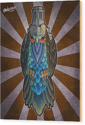 Owl Of The Tower Wood Print by Ismael Cavazos