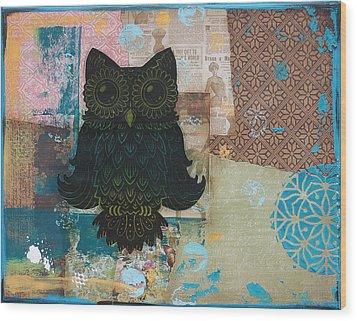 Owl Of Wisdom Wood Print by Kyle Wood