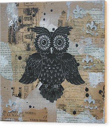 Owl On Burlap2 Wood Print by Kyle Wood