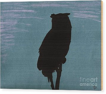 Wood Print featuring the drawing Owl Silhouette by D Hackett