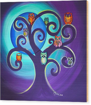 Wood Print featuring the mixed media Owl Sweet Family by Agata Lindquist