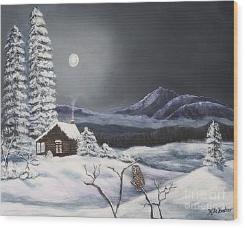 Owl Watch On A Cold Winter's Night Original  Wood Print by Kimberlee Baxter