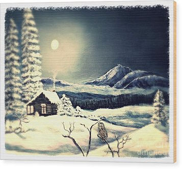 Owl Watch On A Cold Winter's Night Wood Print by Kimberlee Baxter