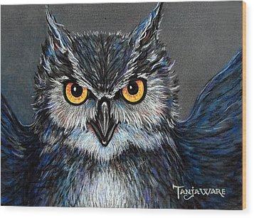 Owlish Wood Print by Tanja Ware
