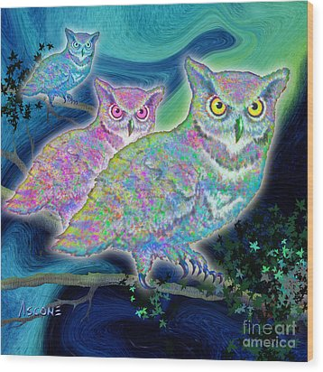 Wood Print featuring the painting Owls At Midnight  Square by Teresa Ascone