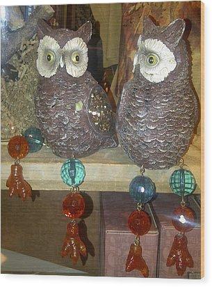 Owls Wood Print by Barbara Yodice