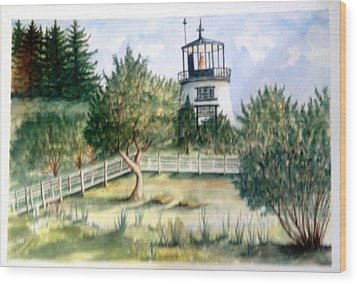 Wood Print featuring the painting Owls Head Maine Lighthouse by Richard Benson