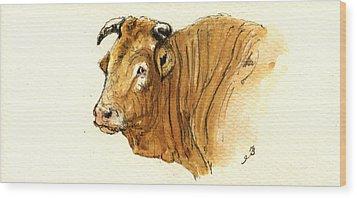 Ox Head Painting Study Wood Print by Juan  Bosco