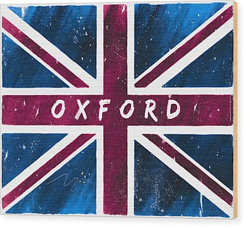 Oxford Distressed Union Jack Flag Wood Print by Mark E Tisdale