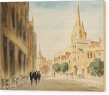 Wood Print featuring the painting Oxford High Street by Bill Holkham