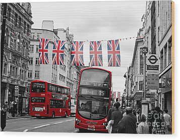 Oxford Street Flags Wood Print