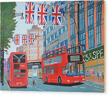 Oxford Street- Queen's Diamond Jubilee  Wood Print by Magdalena Frohnsdorff