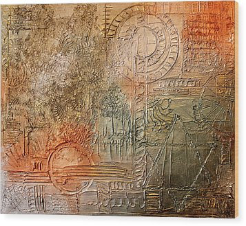 Wood Print featuring the painting Oxidization Sacred Geometry by Patricia Lintner