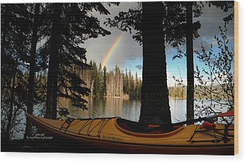 Oyama Lake - Kayaking Wood Print by Guy Hoffman