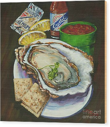 Oyster And Crystal Wood Print by Dianne Parks