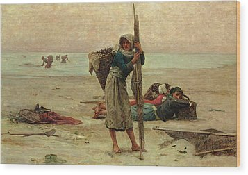 Oyster Catching Wood Print by Pierre Celestin Billet