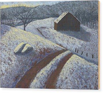 Ozark Winter Barn Wood Print by Garry McMichael