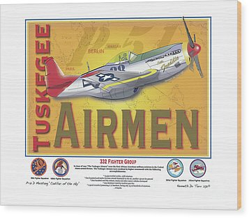 P-51 D Tuskegee Airmen Wood Print by Kenneth De Tore