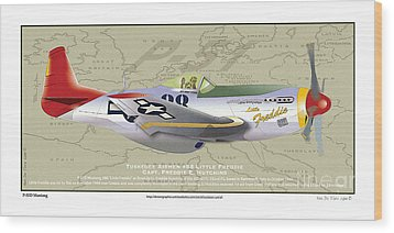Wood Print featuring the drawing P-51  by Kenneth De Tore