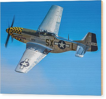 P-51 Mustang Break Out Roll Wood Print by Puget  Exposure