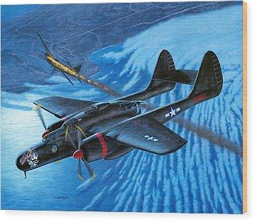 P-61 Black Widow  Caught In The Web Wood Print by Stu Shepherd