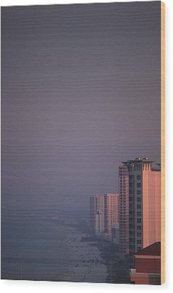 Panama City Beach In The Morning Mist Wood Print