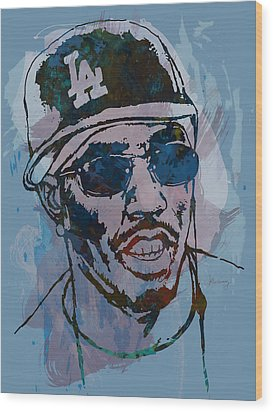 P Diddy - Stylised Etching Pop Art Poster Wood Print by Kim Wang