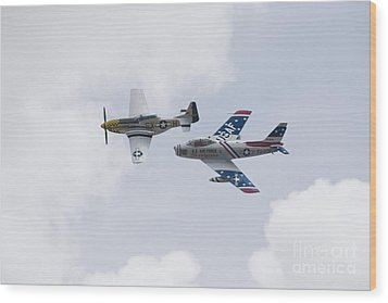 P51 And F86 Heritage Flight Wood Print by Ules Barnwell