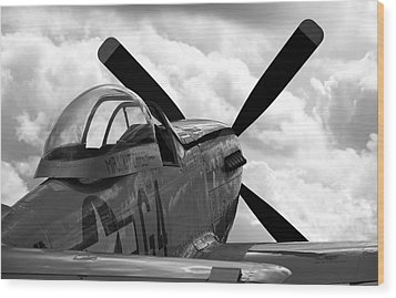 P51 In Clouds Wood Print by Remy NININ