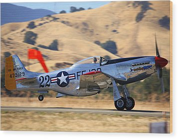 P51 Merlin's Magic On Take-off Roll Wood Print