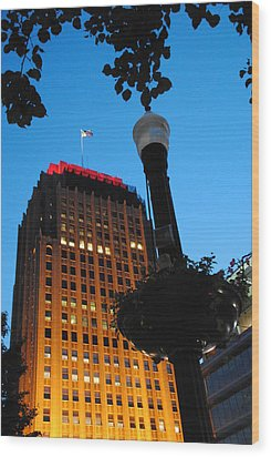 Pa Power Light And Allentown Symbol Wood Print by Jacqueline M Lewis