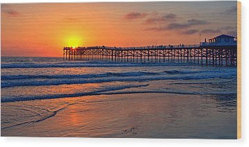 Pacific Beach Pier - Ex Lrg - Widescreen Wood Print by Peter Tellone
