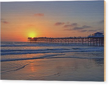 Pacific Beach Pier Sunset Wood Print