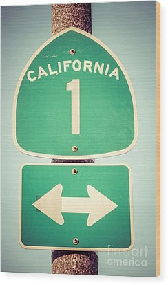 Pacific Coast Highway Sign California State Route 1  Wood Print by Paul Velgos