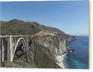 Pacific Coast Scenic Highway Bixby Bridge Wood Print by Carol M Highsmith