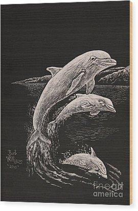 Pacific Ocean Acrobats  Wood Print