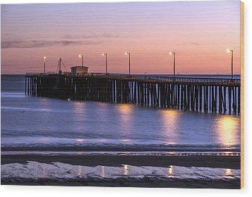 Pacific Ocean At The Pismo Beach Pier  Wood Print by Carol M Highsmith