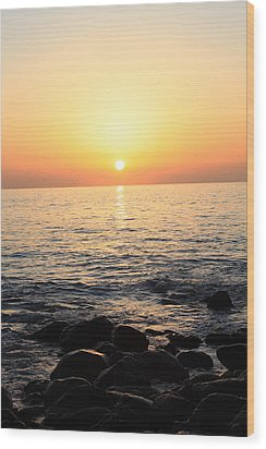 Pacific Sunrise Wood Print by Ashley Balkan