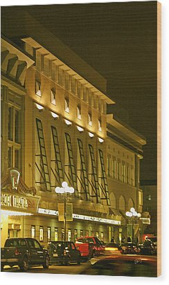 Pacific Theatres In San Diego At Night Wood Print by Ben and Raisa Gertsberg