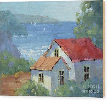 Pacific View Cottage Wood Print by Joyce Hicks