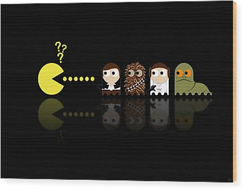 Pacman Star Wars - 4 Wood Print by NicoWriter